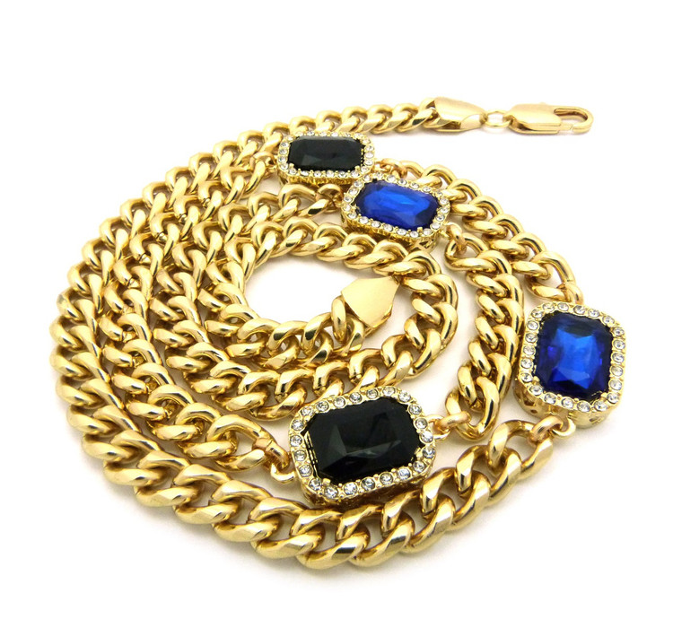 Mens Iced Out Diamond Cz Blue & Black Onyx Chain Gold
