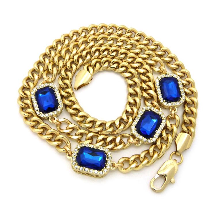 Mens Iced Out Diamond Cz Deep Blue Onyx Chain Gold
