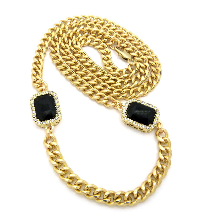 Hip Hop Onyx Diamond Cz Black Shield Chain Gold
