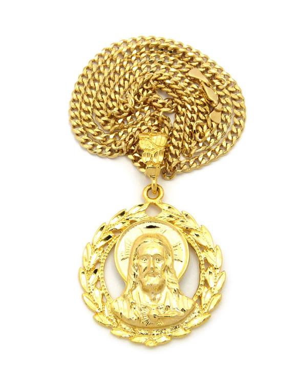 Jesus Wreath Son Of God Pendant Cuban Chain Gold