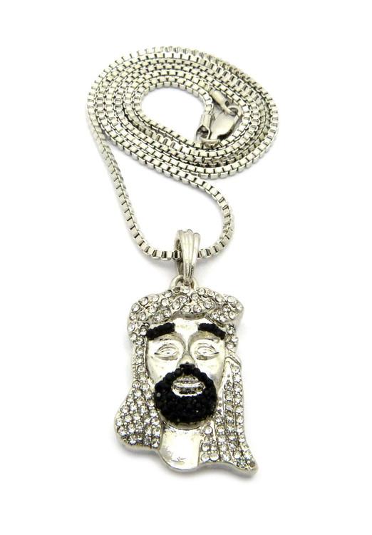 Diamond Cz Beard Jesus Pendant w/ Chain Silver Black