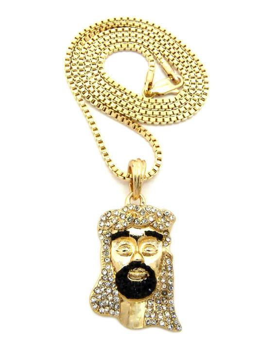 Diamond Cz Beard Jesus Pendant Chain Gold Black
