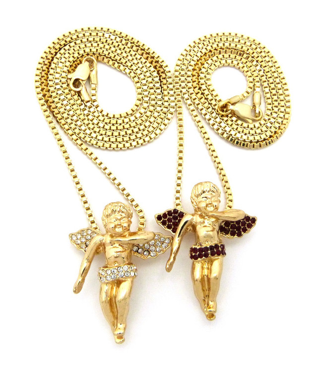 Hip Hop Gold Cz Winged Cherubim Pendant Chains Set Ruby