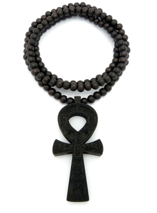 Wooden Ankh Cross Hieroglyphics Egyptian Cross Pendant Black