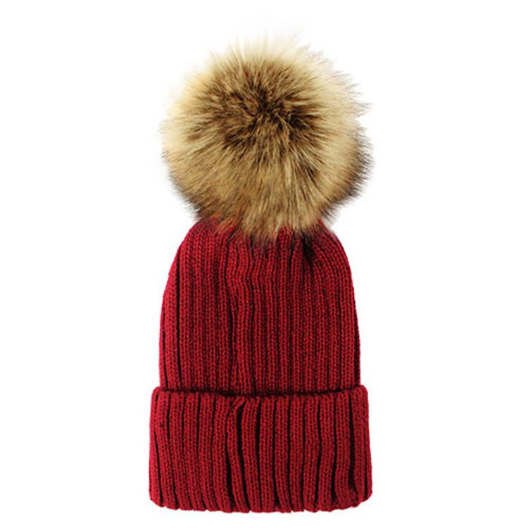 Fuzzy Ball Beanie Hat Burgundy