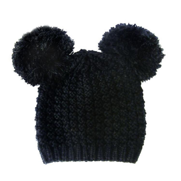 Fuzzy Cat Mouse Pom Pom Ball Beanie Hat Black