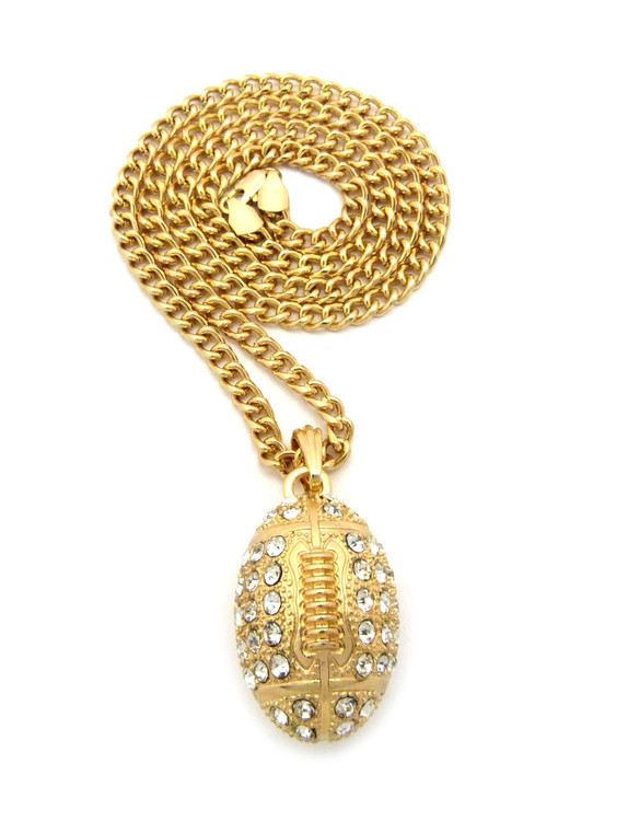 Diamond Cz Iced Out Football Pendant Cuban Chain 14k Gold