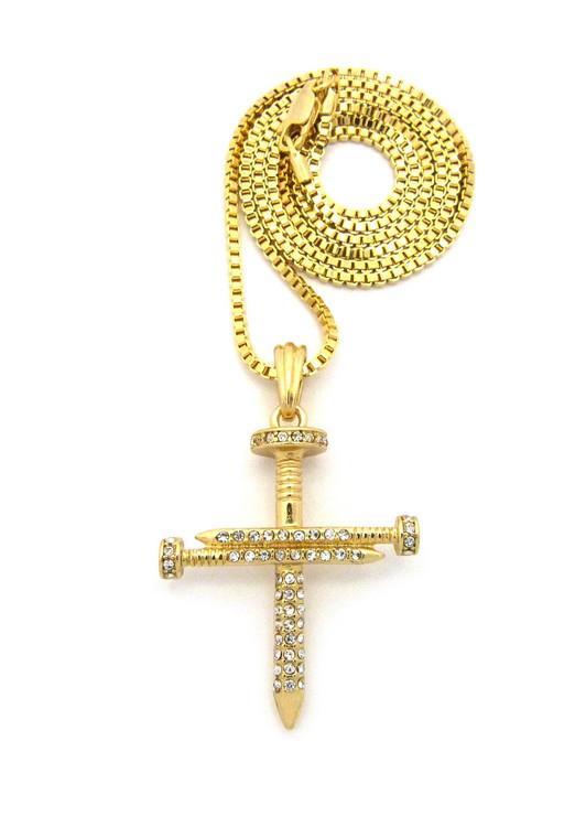 Jesus Diamond Cz Nail Cross Pendant Chain Gold