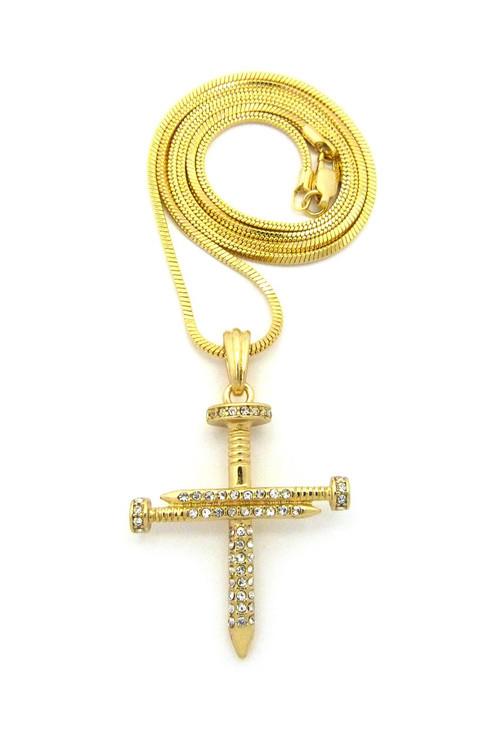 Men's Jesus Diamond Cz Nail Cross Pendant Snake Chain Gold