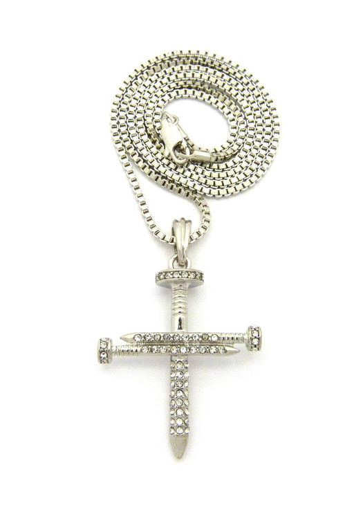 Men's Jesus Diamond Cz Nail Cross Pendant Chain
