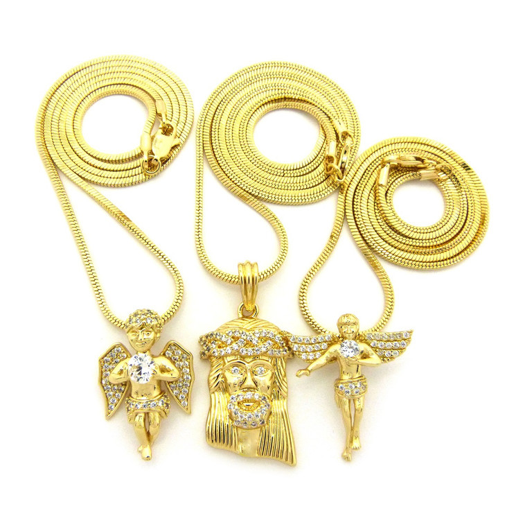 High Class Ultra Baller Jesus Angel Cherub Pendant Set