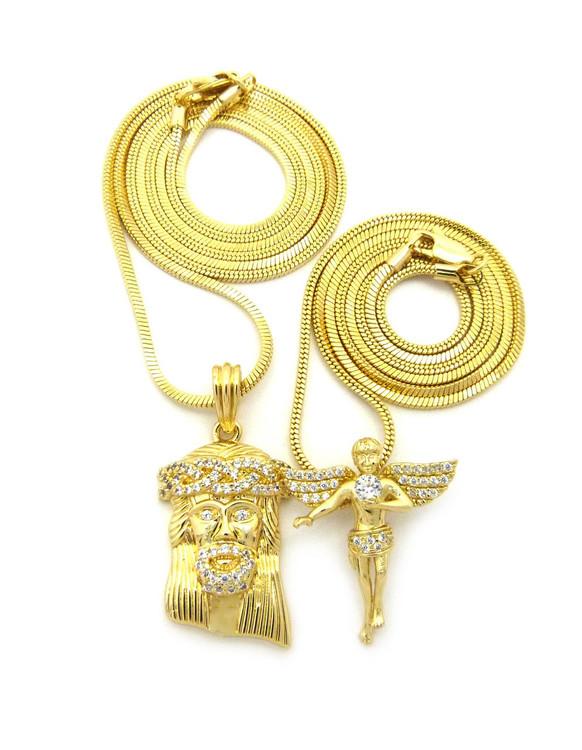 High Class Ultra Baller Jesus Angel Cherub Pendant Snake Chain Set