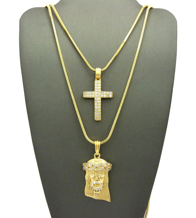 High Class Ultra Baller Jesus Double Row Cross Pendant Snake Chain