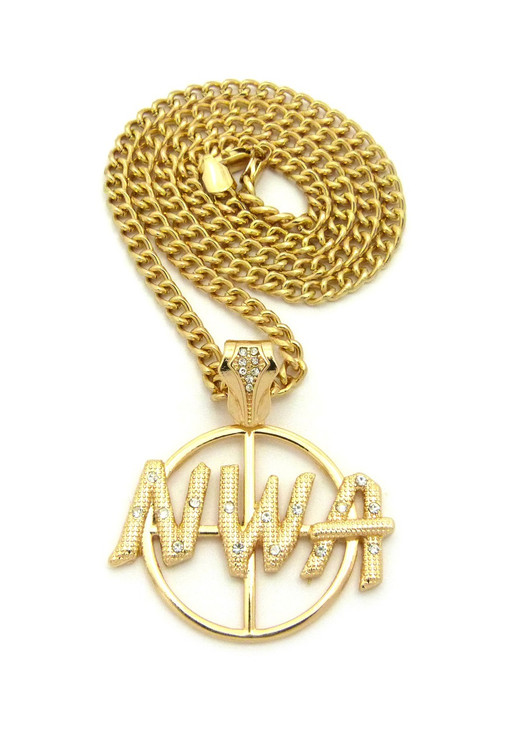 NWA Target Hip Hop Pendant Chain Necklace 14k Gold