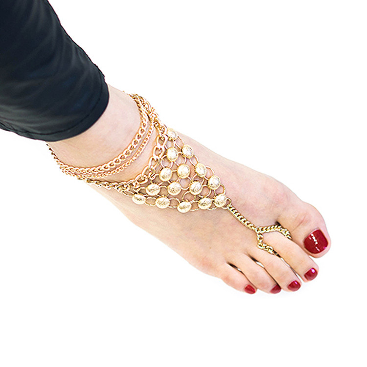 Slave Ankle Toe Ring Bracelet Gold