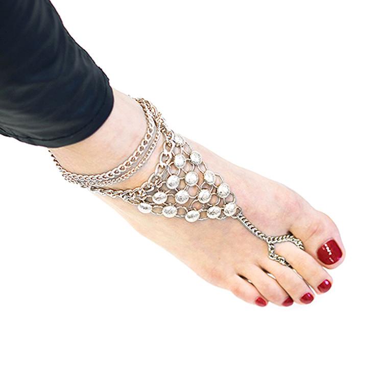 Slave Ankle Toe Ring Bracelet Silver