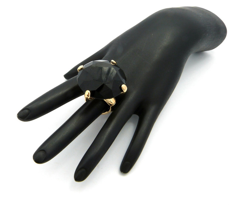 Ladies Big Stone Bling Bling Adjustable Stretch Ring Black Gold