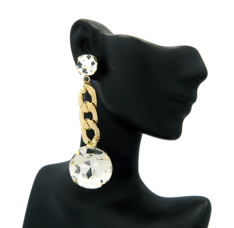 Ladies Chandelier Big Stone Cuban Link Bling Earrings Gold