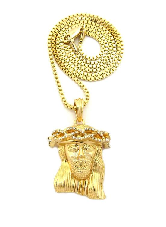 Mens Diamond Cz Crown Micro Jesus Pendant Chain Gold