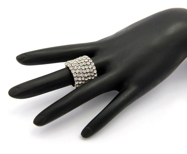 Ladies Bling Bling Rhinestone Stretch Ring Silver