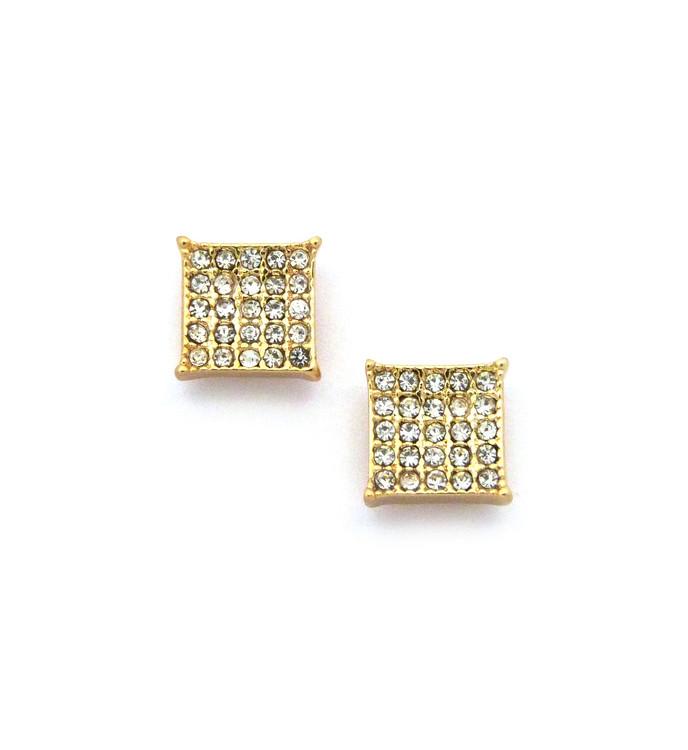 """Mens Bling Kite Cut Diamond Cz Magnetized Earrings 0.4"""" Gold"""