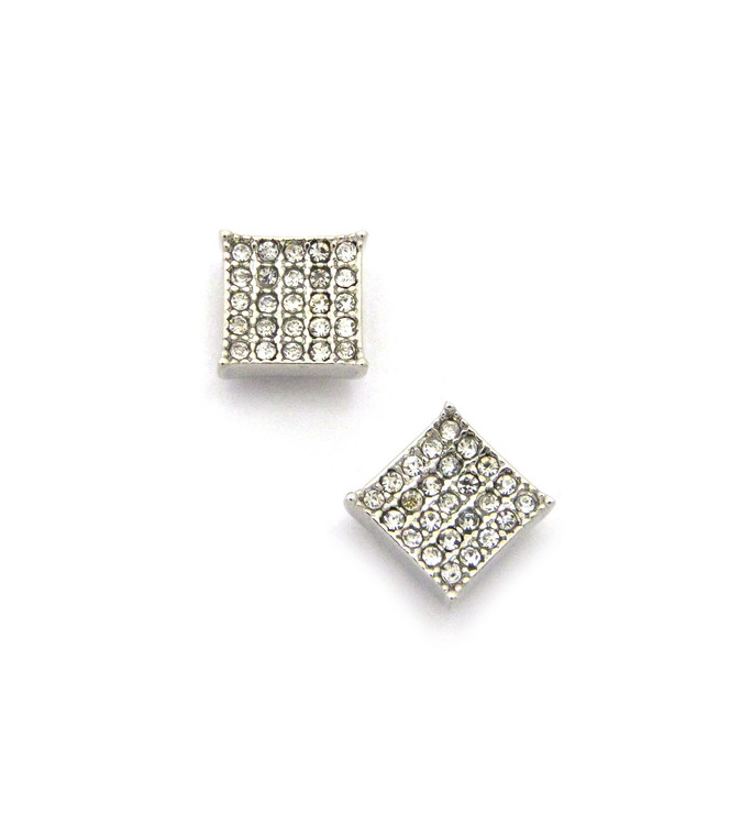 "Mens Bling Kite Cut Diamond Cz Magnetized Earrings 0.4"" Silver"