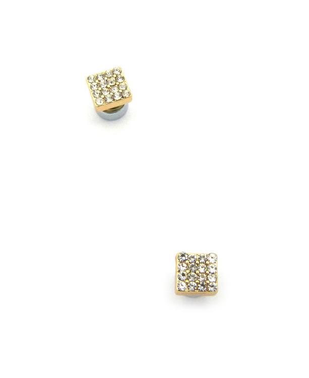 Mens Bling Borderless Diamond Cz Magnetized Earrings Gold