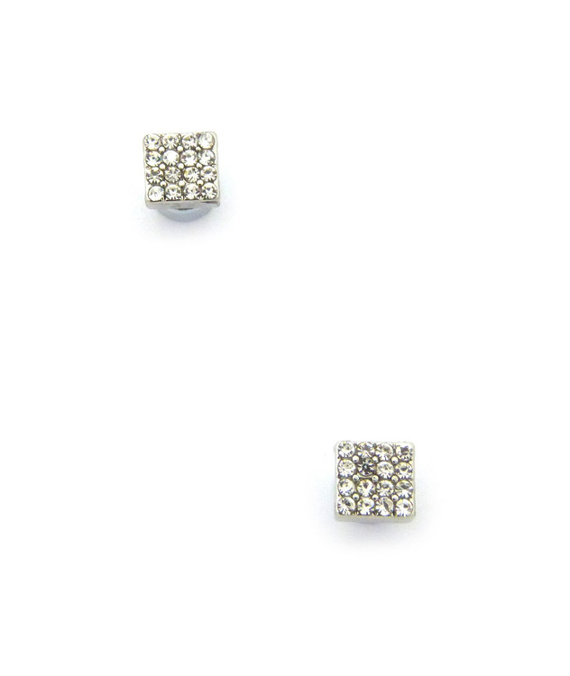 Mens Bling Borderless Diamond Cz Magnetized Earrings  Silver