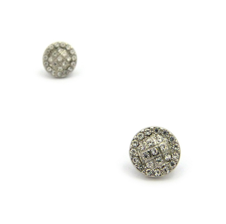 Mens Iced Out Circle Cut Diamond Cz Magnetized Earrings Silver