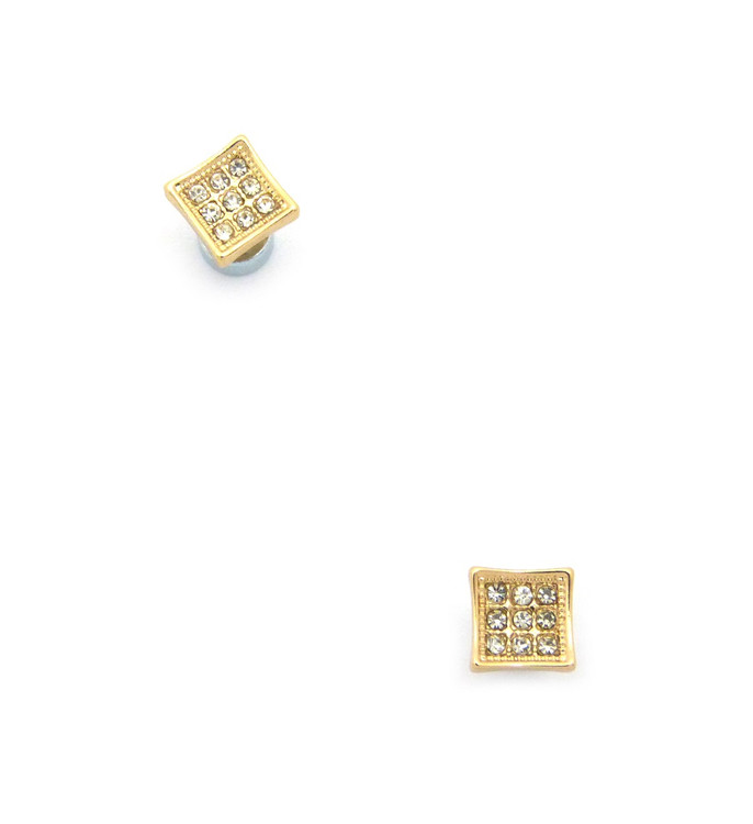 Mens Small Square Cut Diamond Cz Magnetized Earrings Gold
