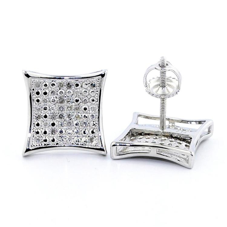 Mens 1/5 cttw 11mm Diamond Kite Earrings w/ Pave Set Diamonds