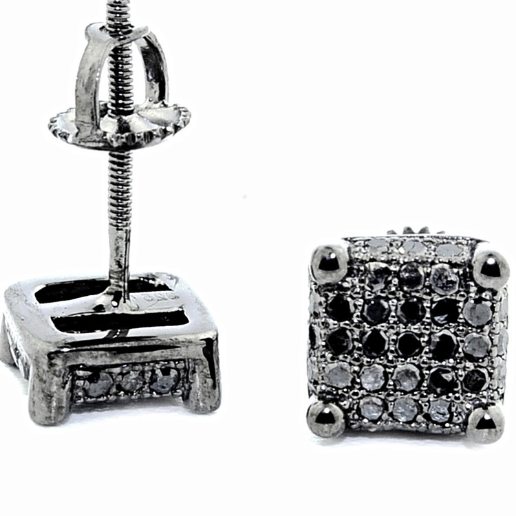 Mens Hip Hop Black Diamond Cube 0.38CTTW Bling Earrings