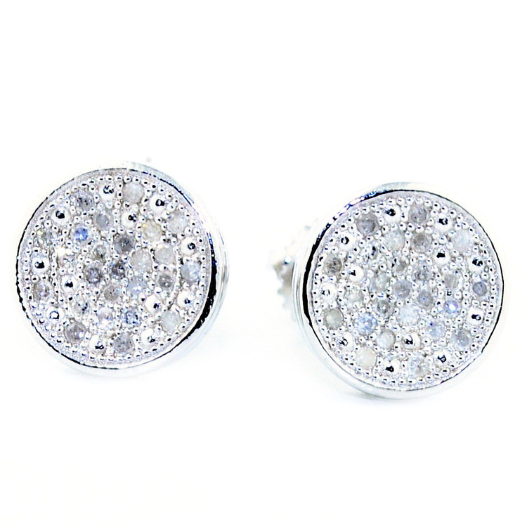 Mens Hip Hop White Gold 1/5 cttw, Diamond Sterling Silver Earrings