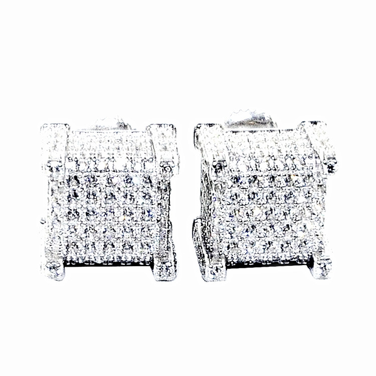Mens Sterling Silver Hip Hop 11mm Dice Cube Earrings