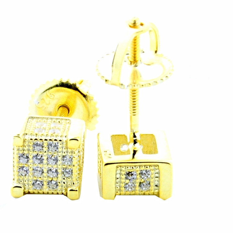 Yellow Silver Cube Earrings With CZ Screw Back 6.5mm Wide Studs