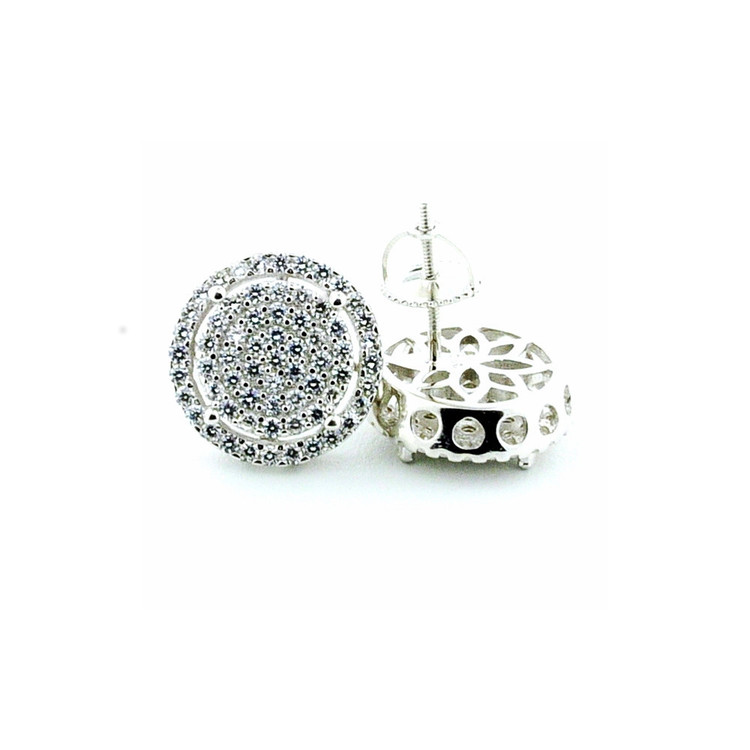 Sterling Silver 925 Large Round Cluster Iced Out Earrings 13mm