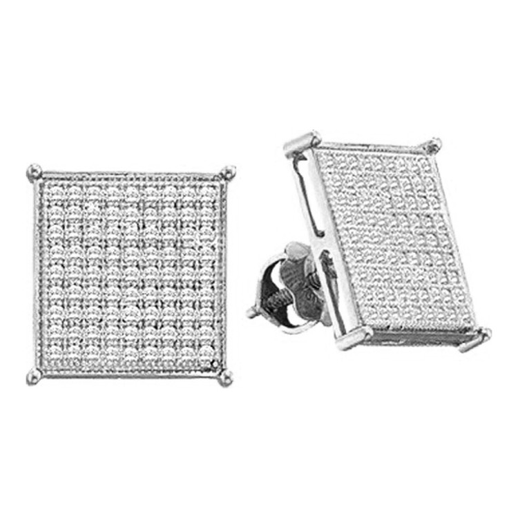 1/5 cttw Iced Out White Gold Diamond Micro Pave 9.25mm Earrings