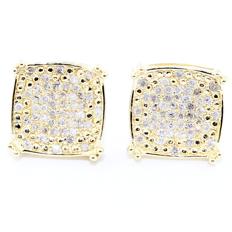 Mens Hip Hop Bling 10K Yellow Gold Diamond Earrings 9mm