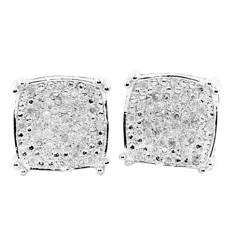 Mens Large Diamond Sterling Silver Iced Out Earrings 9.29mm