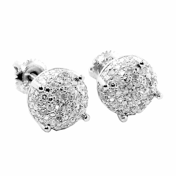 Mens Hip Hop Silver Diamond Cubes Dice Shaped Bling Earrings