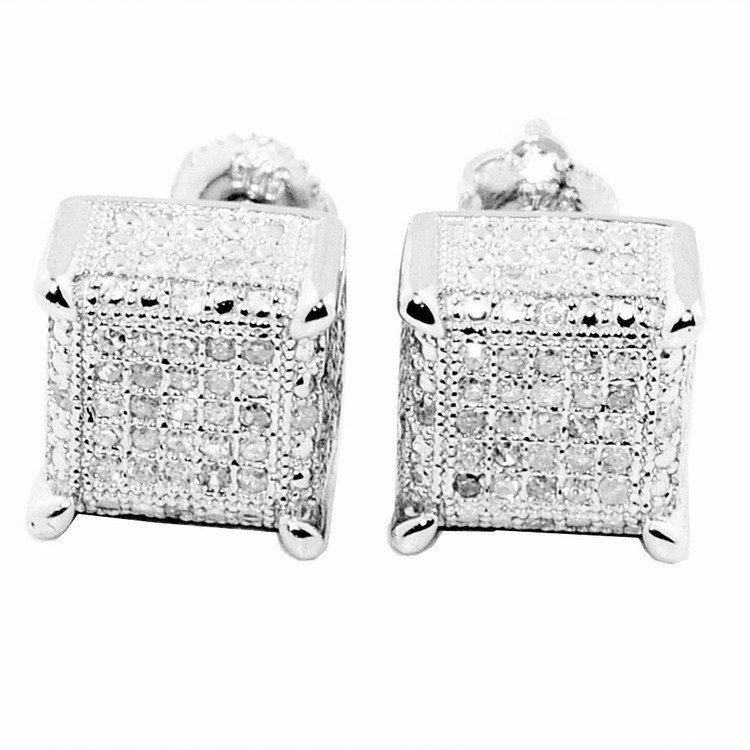 Mens 10K White Gold Cube Earrings 8.83mm 0.3cttw Pave Diamonds
