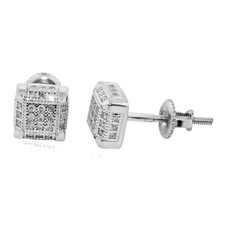 (1/5 cttw) Diamond Stud Cube 10K Yellow Gold 6mm Earrings