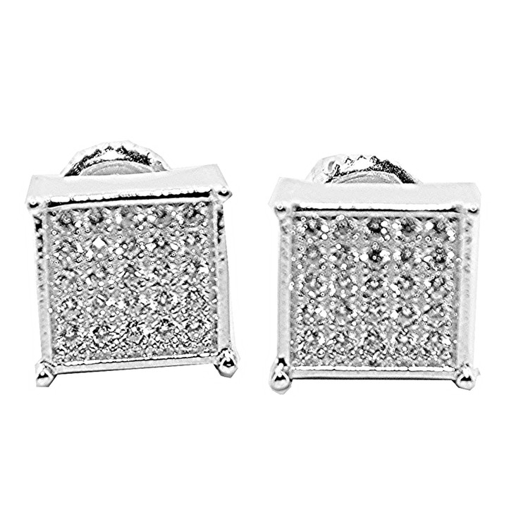 Mens 9.5MM Cubic Zirconia Stud Earrings Sterling Silver