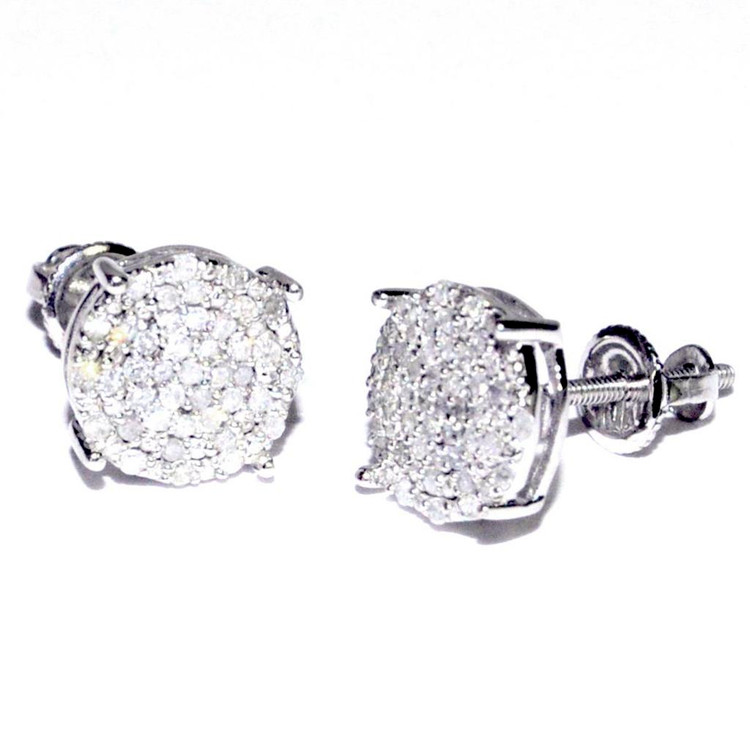 0.25cttw Diamond Round Earrings 10K White Gold Earrings