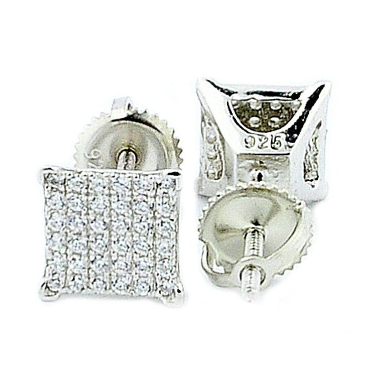 Mens Pave Set Diamond Cz Squares 7mm Sterling Silver Bling Bling Earrings