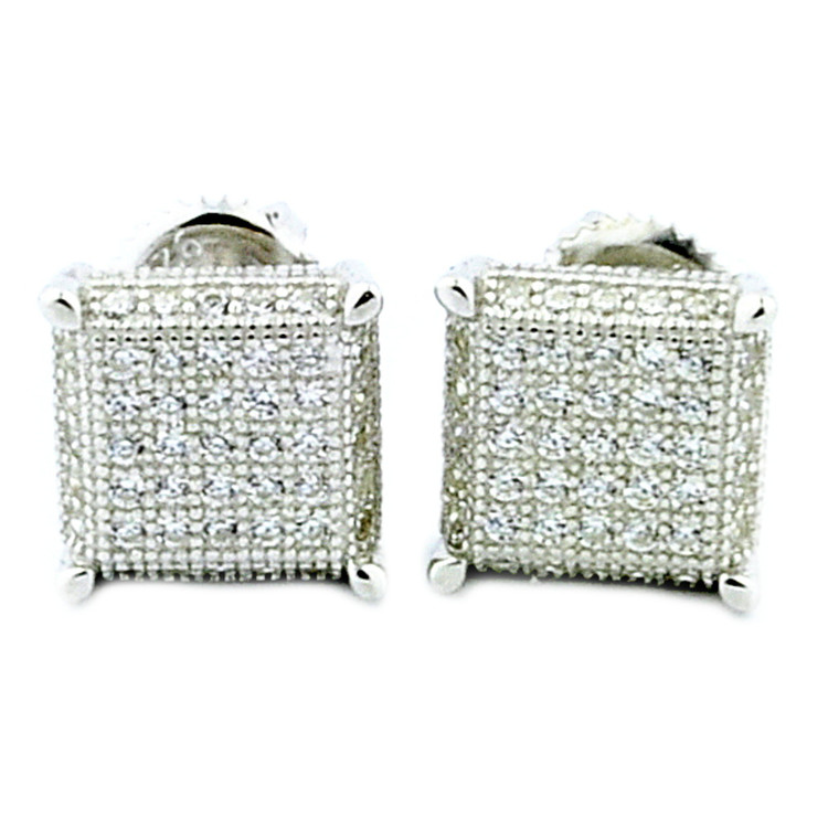 Mens Bling 925 Sterling Silver Cube Cz Earrings 9mm Wide