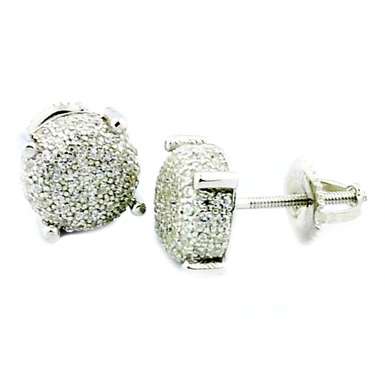 Mens Iced Out Snow Cap 925 Sterling Silver 8mm Earrings