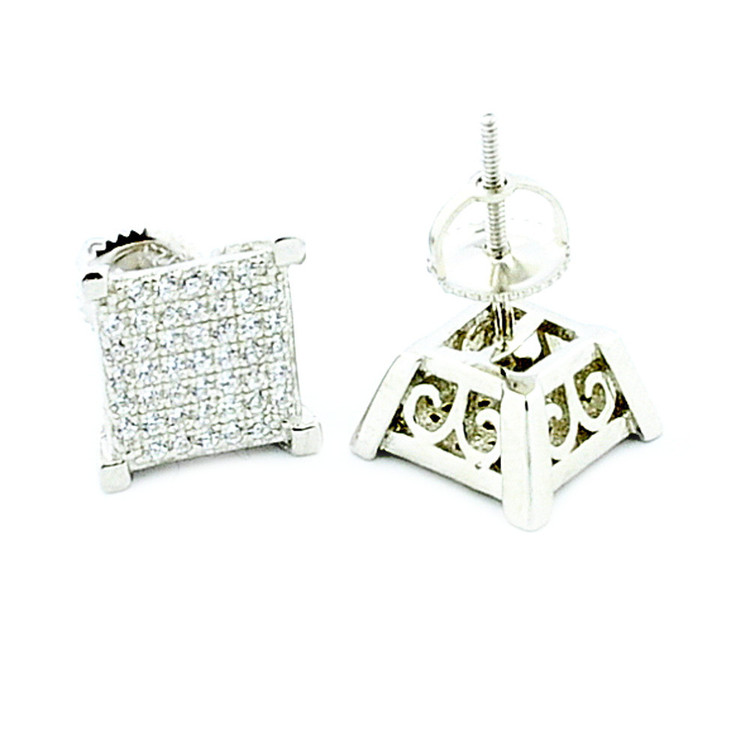 Mens 9mm Iced Out Cz Stone Bling 925 Sterling Silver Earrings