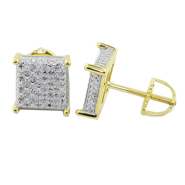 Mens Yellow Silver 1/5CTTW Diamond 9mm Hip Hop Earrings