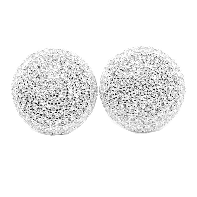 Mens Hip Hop 13.5MM Round CZ Sterling Silver Stud Earrings